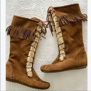 Minnetonka Tall Fringe Suede Moccasin Boots, 8